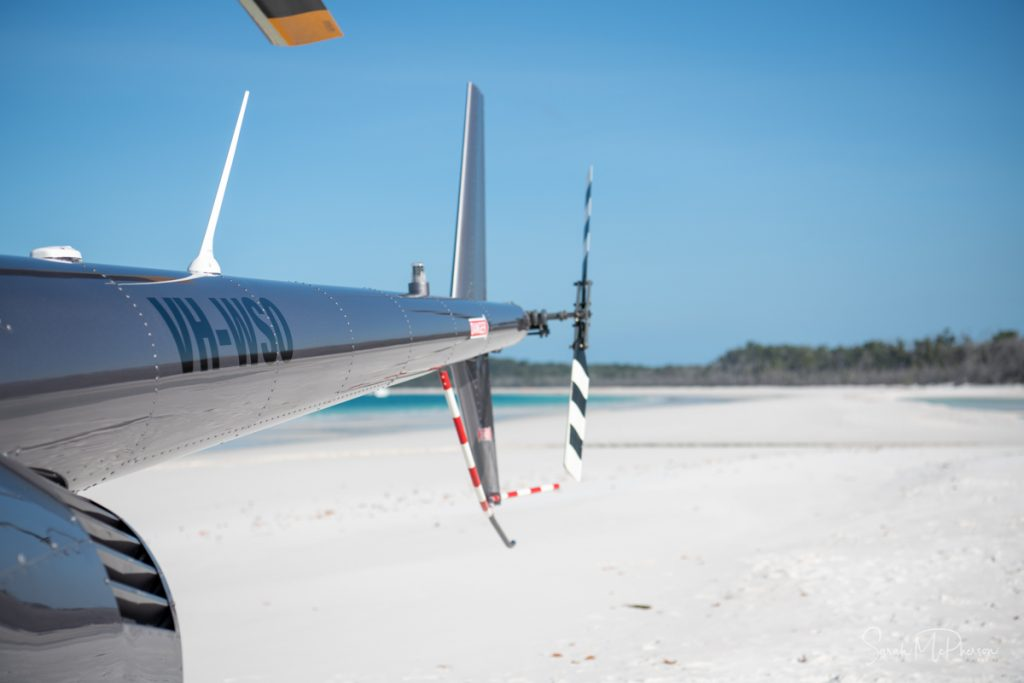 Helicopter on the beach at Whitehaven Beach