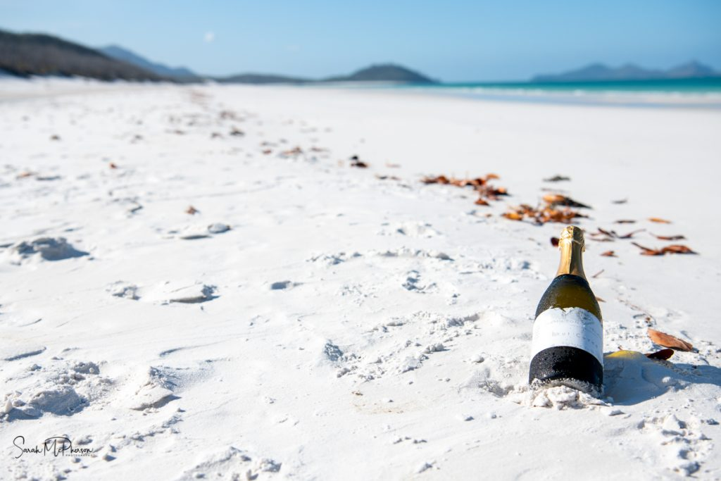 Wine on the beach at Whitehaven Beach